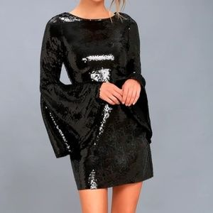 Lulu's Dresses - Lulus Beaming Belle Sequin Bell Sleeve Dress